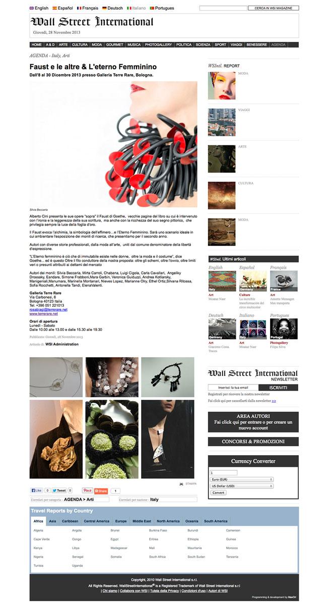 Wall Street International, wsimagazine.com – 28.11.2013